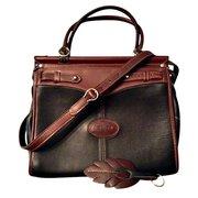 Argentina Leather Black & Brown Travel Tote Handbag For $145