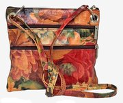 100% Genuine Argentinian Floral Print Leather Cross Body Bag For $95