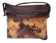 Victorian Floral Printed Argentinian Leather Crossbody Bag $65